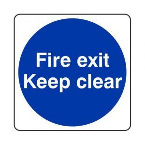 Fire Exit Keep Clear Sign - Rigid Plastic 100 x 100mm