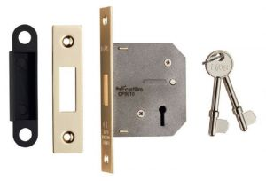 Residential 3 Lever Deadlock - Polished Brass