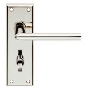 Dieci Lever Bathroom Lock on Backplate