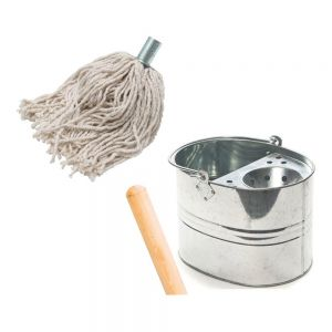 String Mop and Galvanised Bucket